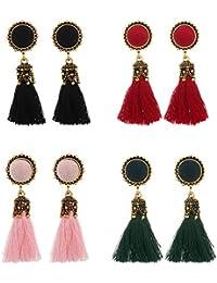 Tpocean - Pendientes de borla estilo bohemio con broches transparentes, 4 pares