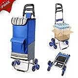 Faltbare Einkaufstrolley mit Geräuschlosen Gummi-Dreirad, Koooper Einkaufswagen Treppensteiger Blau Edelstahl Trolley 45 x 105 x 39cm Große Kapazität ca. 45 kg, Mehr Paket-Design