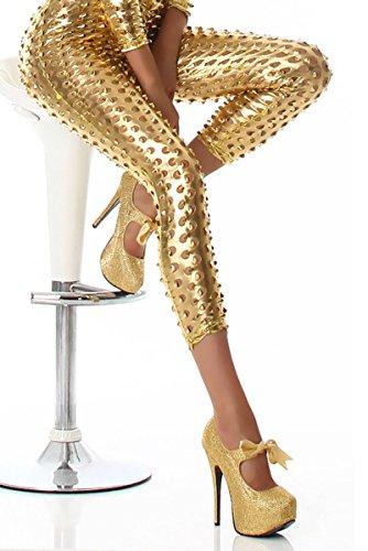 JELA London Damen Gogo Assesiour Overall Jumpsuite glänzend Wet-Look Langram Schwarz 34-38 Gold