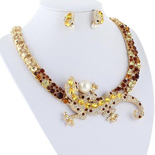 EVER FAITH® Lézard Perle Artificielle Collier Boucle d'Oreilles Parures Cristal Autrichien Brun