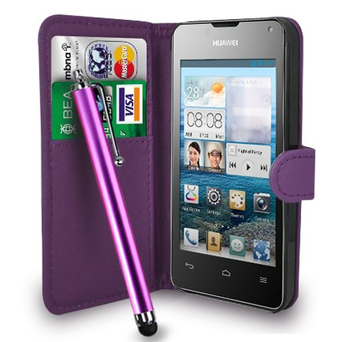 huawei-ascend-y300-dark-purple-leather-wallet-flip-case-cover-pouch-free-screen-protector-touch-styl