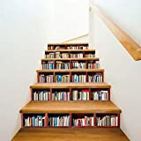 Hechgobuy Stilvolle Bücherregal stufenförmige dekorative Wand Aufkleber Home Decor Aufkleber, 100 * 18 cm * 6 Chip