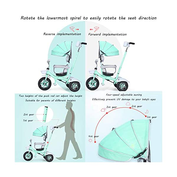 BGHKFF 3 In 1 Childrens Tricycles 1.5 To 5 Years 360° Swivelling Saddle Folding Sun Canopy Children's Pedal Tricycle Adjustable Handle Bar Blockable Rear Wheels Child Trike Maximum Weight 50 Kg,Cyan BGHKFF ★Material: High carbon steel frame, suitable for children aged 1.5-5, maximum weight 50 kg ★ 3-in-1 multi-function: convertible into stroller and tricycle. Remove the hand putter and awning, and the guardrail as a tricycle. ★Safety design: golden triangle structure, safe and stable; guardrail; rear wheel double brake 3