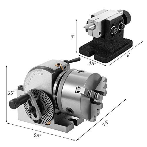 Buoqua BS-0 Dividing Head 5Inch Trennkopf 3 Backenfutter Präzisionsteilung Reitstockplatten Semi Universal Teilkopf für Fräsmaschine Reitstock Spindel MIlling Mill Set (BS-0 5Inch)