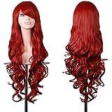 EmaxDesign de las pelucas 80cm calidad de alta largo completo de las mujeres pelo rizado pelo ondulado mechas prueba calor con pelo rulos libre peluca peine(color:rojo oscuro )