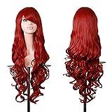 Wigs EmaxDesign 80 cm di alta qualità, dicono le donne s-Parrucca lunga riccia, resistente al calore a onde-Parrucca Glamour-Parrucca e cappello con parrucca e pettine, colore: rosso scuro