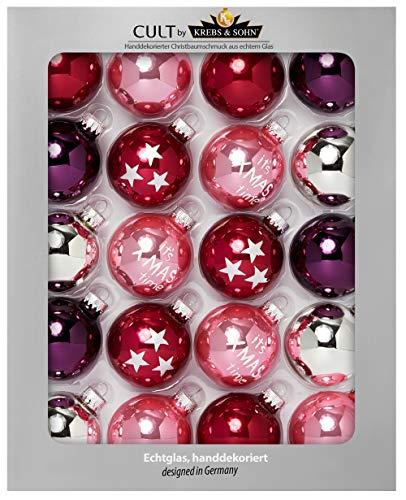 Krebs & sohn cult - set di 20 palline di vetro per il natale (diametro 5,7 cm) - decorazione dell'albero di natale - rosso, rosa, viola, argento