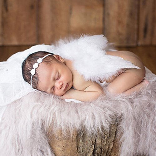 Yezelend Baby Neugeborene Fotoshooting Kostüm Engelsflügel Fotografie Prop Engel Feder mit Blumen Haarband (Engelsflügel Mit Federn)