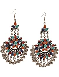 Zephyrr Fashion Multicolor Oxidized Silver Afghani Tribal Dangle & Drop Earring For Women and Girls