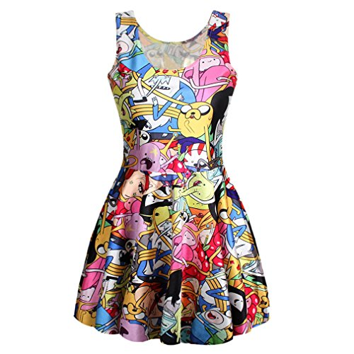 Art Kleidung Pop Kostüm - ecollection Damen Digital Print Mini Dress Skirt (Adventure Time 1)