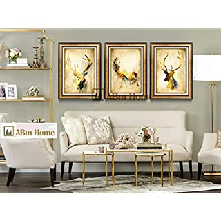 ABM Home -Golden Abstract Deer (66cm x 51cm/each Frame/3pcs set) Wall Art, Large Wall Picture Frame, Vintage Style,Framed Canvas, Large Poster (Luxury Gold, A)