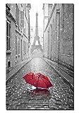 70x100cm - Impressions Sur Toile Art mural - Impressions De La Tour Eiffel Sur Toile Rouge Parapluie Décor Affiche Art Pour La Chambre (PC6077, 70_x_100_cm)