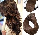 Clip dans les Extensions de Cheveux Réel Extensions de Cheveux Humains Brun Moyen 18in 70g 7 Pièces Soyeux Droite Trame Remy Cheveux