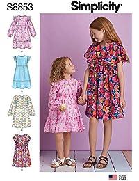 Simplicity US8853K5 Pattern S8853 - Patrones de costura para vestidos de niña (tallas 7-