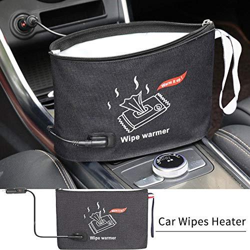 Borsa calda per salviette per neonati, riscaldatore per salviette per auto portatile Borsa per salviette termostato per salviette per bambini con spina per caricabatteria per auto
