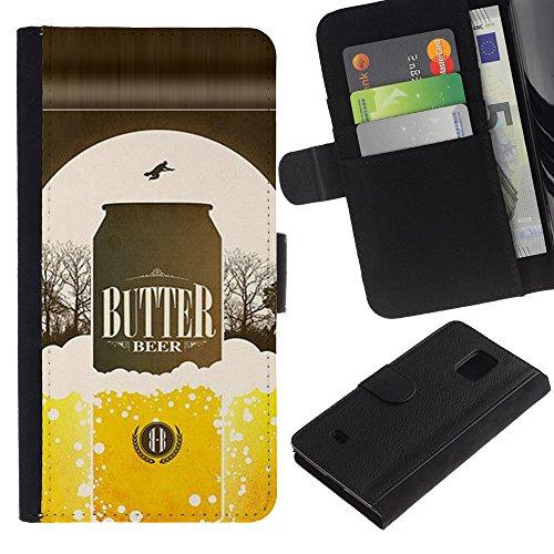 UPPERHAND (Non Per S5) Stile Immagine Portafoglio Carte PELLE FLIP TPU CUSTODIA CASE PROTEZIONE COVER IN GUSCIO Per Samsung Galaxy S5 Mini, SM-G800 - birra lattina bottiglia dorata annuncio manifesto
