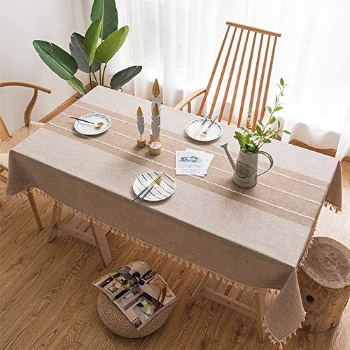Zocone cotone lino rettangolare tovaglie, moderna tovaglia antimacchia lino anti-macchia tovaglia, lavabile antimacchia (colore del caffè, 140cm*180cm)