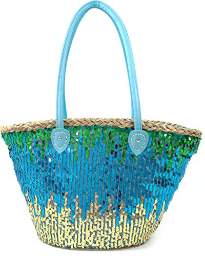 FISH IN THE SEA Pailletten Strandtasche XXL Ibiza Korbtasche Damen Glitzer im Farbverlauf Grün Blau Gold mit extra grossem Tragehenkel (Ovale Palmenblatt)