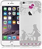 JAMMYLIZARD | Cover custodia in Silicone Trasparente con Sketch per iPhone 6 e 6s, ALICE NEL PAESE DELLE MERAVIGLIE