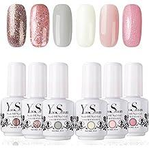 Vernis à Ongles Gel - Y&S UV LED Vernis Gel Semi Permanent Soak Off Manucure Nail Art Cadeau Kit, 6 Couleurs X 8ml, Lot Rêve Rose
