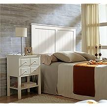 SERMAHOME Cabecero de madera de pino lacado en color blanco. Medida: 98 cm x 122 cm x 5 cm. Camas de 80 y 90 cm.