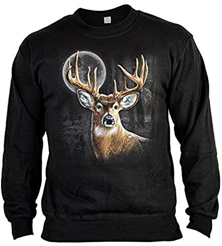 Pop Art Sweater ::: Deer in the Moonshine Wilderness ::: für Jäger mit US Motiv auf der