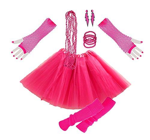 INNOBASE 1980s Fancy Dress Zubehör Kunststoff Neon Erwachsener Tutu Beinwärmer Fishnet Pink Handschuhe Neon Mehrfarbig Perlenkette Perlen Halsketten und Armbänder 80er Party Kleid für Mädchen Frauen Night Out Party (A3)
