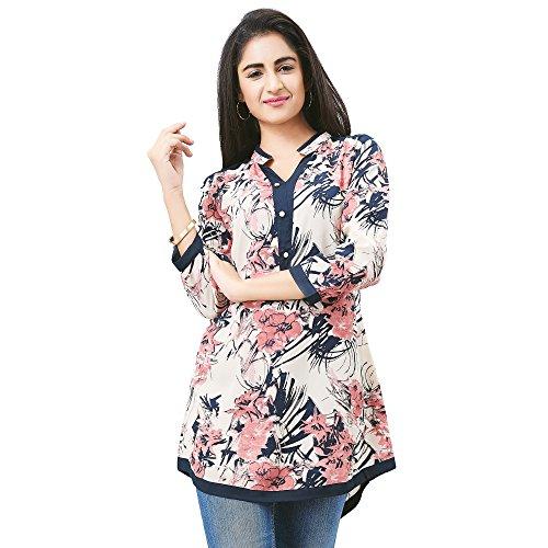Aarnaa Casual Women Tunic 3 Quarter Sleeves Mandarin Collar Satin White short...
