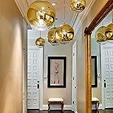 s.LUCE Pendellampe Spiegelkugel Fairy Ø 30cm Goldfarben Hängelampe Hängeleuchte golden verspiegelt 230cm Länge auch für Galerie