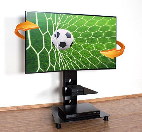 """RICOO TV Standfuß Universal Schwenkbar FS707B Curved LCD LED 4K Fernsehständer mit Kabelkanal Fernsehhalterung Stand Ständer Halterung Rack 30\""""/76cm - 55\""""/140cm Zoll VESA 600x400 / Glas Schwarz"""