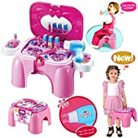 HZY Girls Pretend Mini Dressing Table Toy Play Beauty Set Storage Stool / Carry Case with Mirror 12 Accessories (Pink)