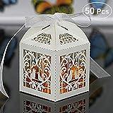 UEETEK 50 Stück Geschenkboxen, Vogel Muster Pralinenschachtel für Hochzeit/Geburtstag,Braut Dusche Party, Beige