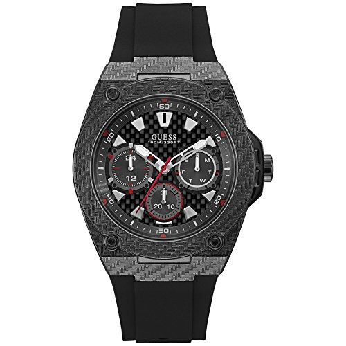 Guess Herren Chronograph Quarz Uhr mit Silikon Armband W1048G2