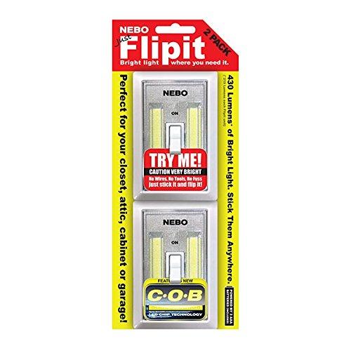 EdisonBright Nebo Flipit 6523 215 LM COB LED magnétique pièce/Armoire/abri de Jardin lumière Lot de 2 3 x AAA Piles Alcalines Bundle
