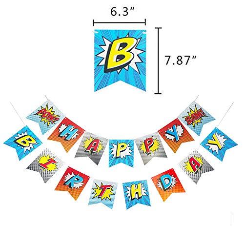 515b1JGvXLL - Juego de decoración de cumpleaños de superhéroes (31 Piezas) - Globos de Colores con pancartas de superhéroes y pancartas de superhéroes, decoración de Pasteles, Pegatinas y muñequera para niños