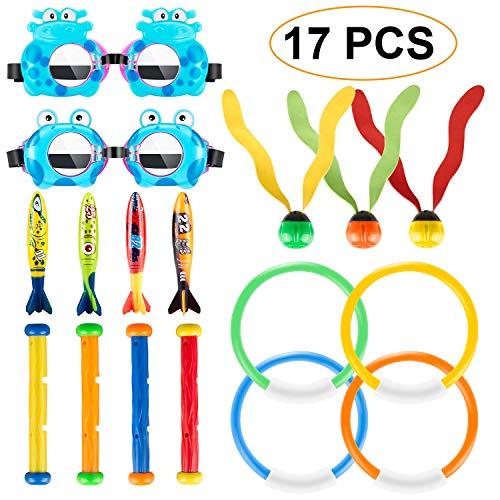 Magicfun Tauchen Spielzeug Unterwasser 17 Stück, Kinder Unterwasser Spaß Tauchausbildung, 4 Torpedo Banditen + 3 Wasser Gras + 4 Tauchstäbe + 4 Tauchringe + 2 Tauchergläser