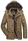 Herren Wärmejacke Parka Jacke Winterjacke Kapuze Übergangsjacke Kapuzenparka Jacket Mantel Wintermantel Mens Winter Coat Gefüttert (Large, Khaki)