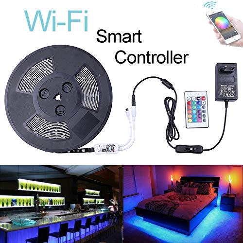 Miwatt RGB LED Streifen Kit,10m, 16 Millionen Farben,steuerbar via App, Kompatibel mit Alexa, Google Home, IFTTT, wasserdichte, Sync mit Musik(SMD 5050 IP65)