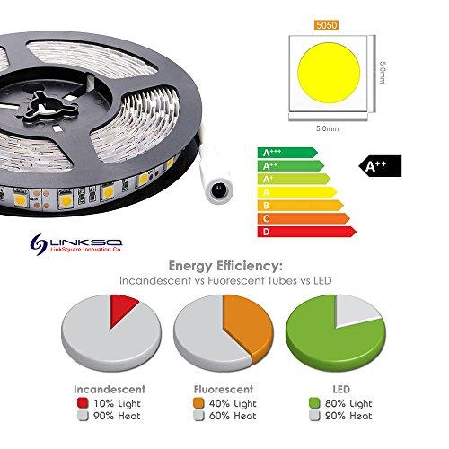 LinkSquare 5m 5050 (Blanco / Blanco Frio / Blanco Cálido / Rojo / Verde / Azul / Púrpura Rosado) No Impermeable IP20 DC 12V 300 LEDs (60 LEDs/Metro) Iluminación de Flexible Lámpara Ligero Hada Luz Tiras de SMD LED (Blanco Frio 8000K-10000K)