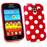 Emartbuy ® Samsung I8160 Galaxy Ace 2 Polka Dots Gel Skin Cover / Case Red / White