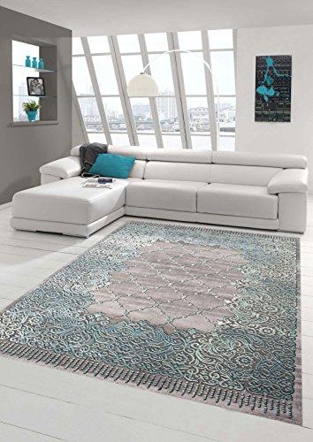Traum Teppich Designerteppich Moderner Teppich Wohnzimmerteppich Kurzflor Bordüre und Ornamente mit Konturenschnitt in Grau Türkis, Größe 200x290 cm