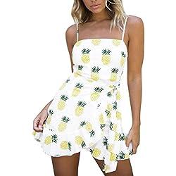 Mini vestido de mujer, Sin mangas con estampado de piña Vestido corto sin mangas con fiesta de noche Bodycon ABsolute (M, Blanco)