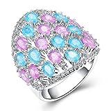SonMo Versilberte Ring Diana für Frauen Fingerring Lila Damen Ringe Breit Silber Boutique Schmuck Geschenk Bunt Zirkonia Größe:54 (17.2) Breite:24Mm