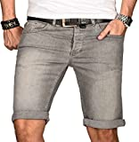 A. Salvarini Herren Designer Jeans Short Kurze Hose Slim Sommer Shorts Bermuda [AS-103-W34]