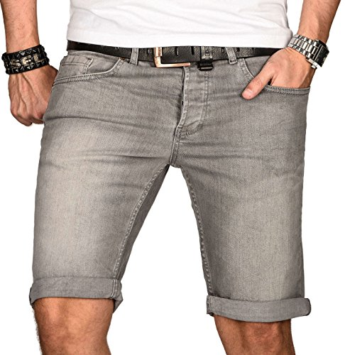 A. Salvarini Herren Designer Jeans Short Kurze Hose Slim Sommer Shorts Bermuda [AS-103-W36]