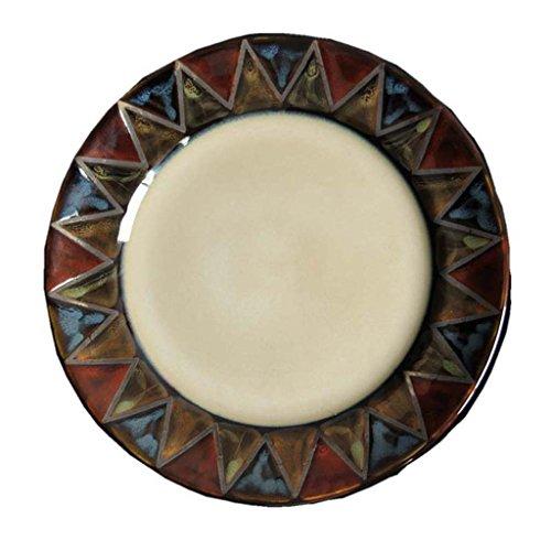 Couverts en céramique de 8 pouces, plat Western de motif géométrique créatif peint à la main, plaque de steak, assiette à dessert, sous glaçure