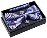 Retreez Herren Gewebte vorgebundene Fliege Tartan Plaid Karo Manier 13 cm und Einstecktuch und Manschettenknöpfe im Set, Geschenkset, Weihnachtsgeschenke - violett