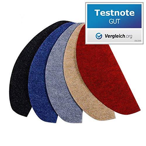 casa pura® Textilfaser - Stufenmatten | Testnote GUT | für attraktive & sichere Treppenstufen | Set mit 15 Stück | robuste Allzweck-Matten für Stufen (rot)