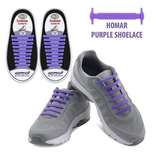 Homar No Tie Lacci per scarpe per bambini e adulti - Impermeabile in silicone elastico piatto Laces Athletic scarpa da corsa con multicolore per Scarpe Sneakerboots bordo e scarpe casual (Adult Size Purple)