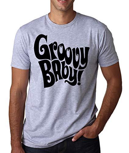 Austin Weißes T-shirt (Groovy Baby Austin Powers Comedy Movie Quote Herren T-Shirt Weiß Grau Schwarz Large)